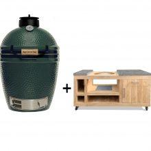 Big-Green-Egg-Medium-met-eikenhouten-tafel-deluxe licht grijs beton look