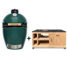 Big-Green-Egg-Large-met-tafel-eikenhout-Deluxe-II-antraciet