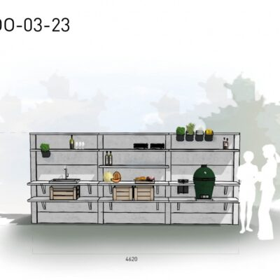 Lichtgrijs: €10.600 Antraciet: €11.860. De prijs is inclusief transport, installatie en BTW. Exclusief BBQ en accessoires.